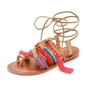 Schutz Lace Up Patricia Gladiator Tassel Sandals